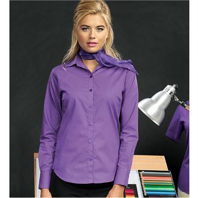 Lime - Front - Premier Womens-Ladies Poplin Long Sleeve Blouse - Plain Work Shirt