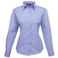 Mid blue - Front - Premier Womens-Ladies Poplin Long Sleeve Blouse - Plain Work Shirt