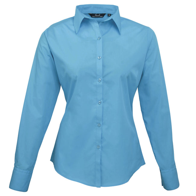 Navy - Front - Premier Womens-Ladies Poplin Long Sleeve Blouse - Plain Work Shirt