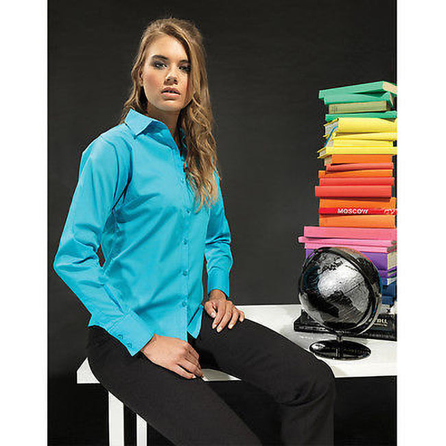 Purple - Front - Premier Womens-Ladies Poplin Long Sleeve Blouse - Plain Work Shirt
