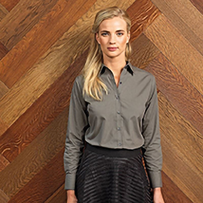 Dark Grey - Side - Premier Womens-Ladies Poplin Long Sleeve Blouse - Plain Work Shirt