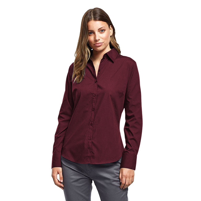 Burgundy - Back - Premier Womens-Ladies Poplin Long Sleeve Blouse - Plain Work Shirt