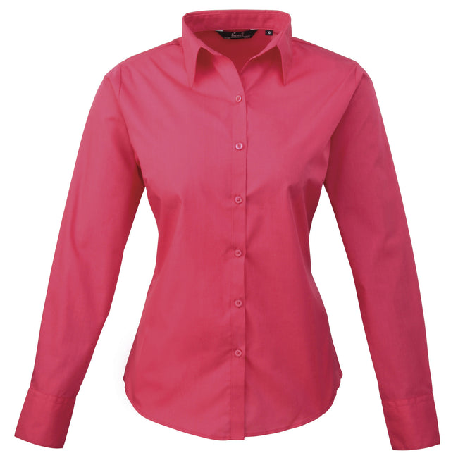 Hot Pink - Back - Premier Womens-Ladies Poplin Long Sleeve Blouse - Plain Work Shirt