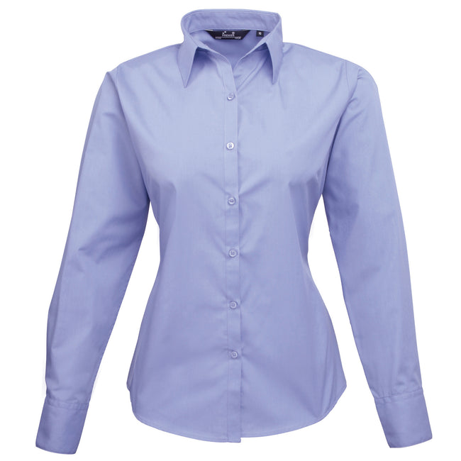 Mid blue - Back - Premier Womens-Ladies Poplin Long Sleeve Blouse - Plain Work Shirt
