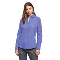 Natural - Side - Premier Womens-Ladies Poplin Long Sleeve Blouse - Plain Work Shirt