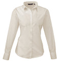 Natural - Lifestyle - Premier Womens-Ladies Poplin Long Sleeve Blouse - Plain Work Shirt