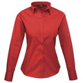 Purple - Back - Premier Womens-Ladies Poplin Long Sleeve Blouse - Plain Work Shirt