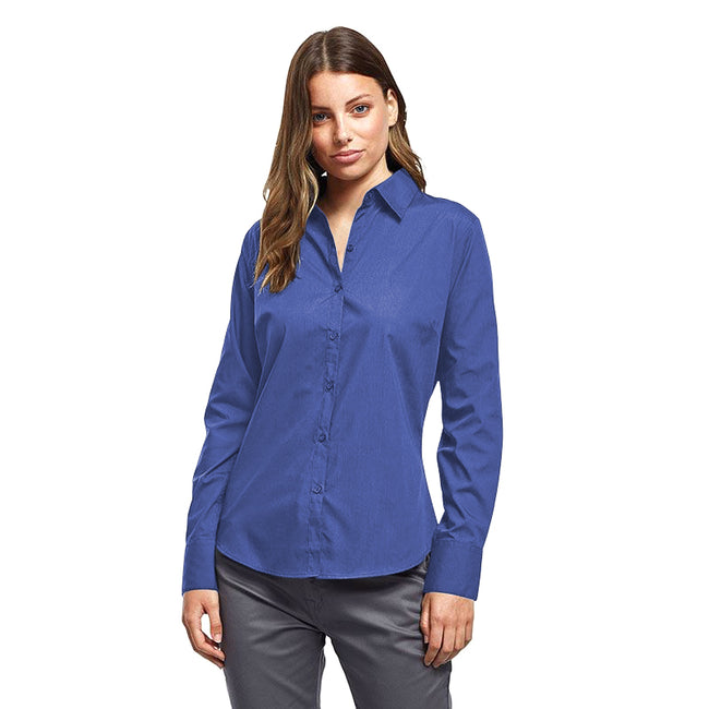 Royal - Front - Premier Womens-Ladies Poplin Long Sleeve Blouse - Plain Work Shirt