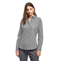 Silver - Front - Premier Womens-Ladies Poplin Long Sleeve Blouse - Plain Work Shirt