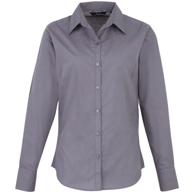 Silver - Back - Premier Womens-Ladies Poplin Long Sleeve Blouse - Plain Work Shirt