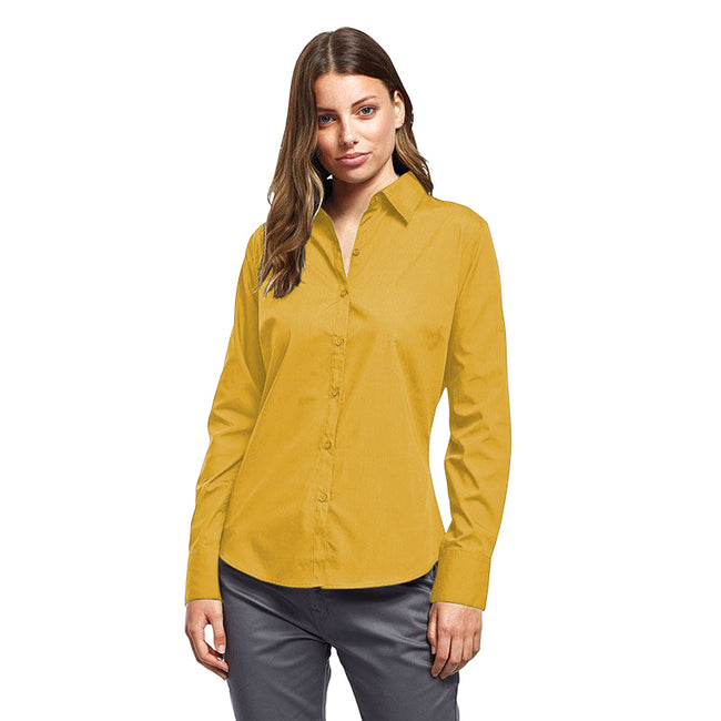 Sunflower - Front - Premier Womens-Ladies Poplin Long Sleeve Blouse - Plain Work Shirt