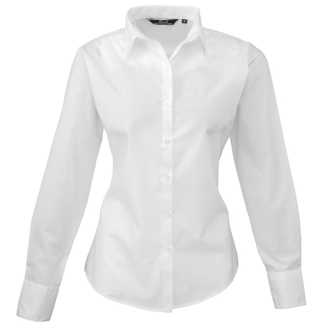 Sunflower - Back - Premier Womens-Ladies Poplin Long Sleeve Blouse - Plain Work Shirt