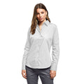 White - Front - Premier Womens-Ladies Poplin Long Sleeve Blouse - Plain Work Shirt