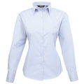 Light Blue - Front - Premier Womens-Ladies Poplin Long Sleeve Blouse - Plain Work Shirt