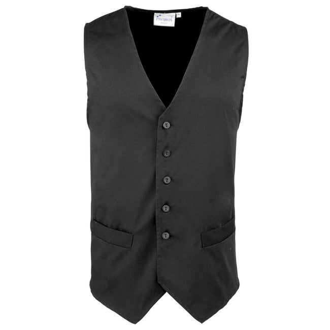 Black - Front - Premier Mens Hospitality - Bar - Catering Waistcoat