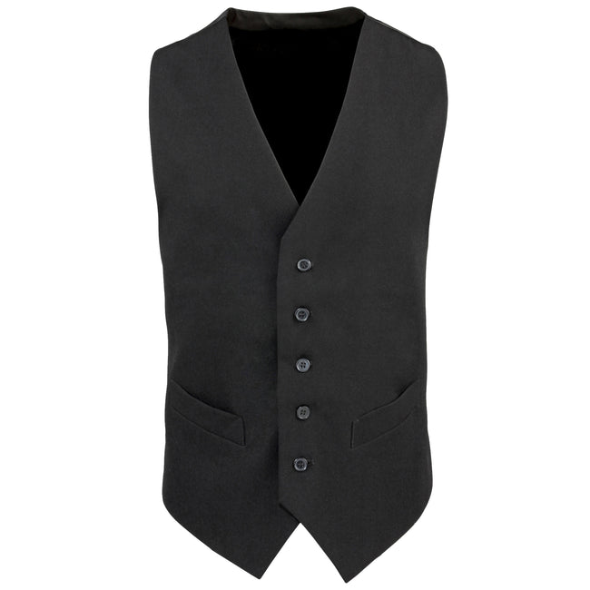 Black - Front - Premier Mens Lined Polyester Waistcoat - Catering - Bar Wear