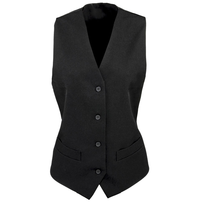 Black - Front - Premier Womens-Ladies Lined Polyester Waistcoat - Bar Wear - Catering