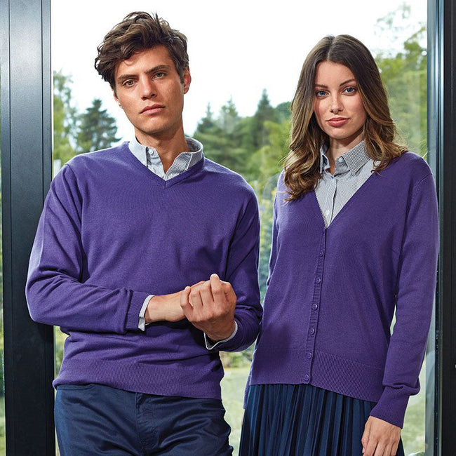 Red - Front - Premier Mens V-Neck Knitted Sweater