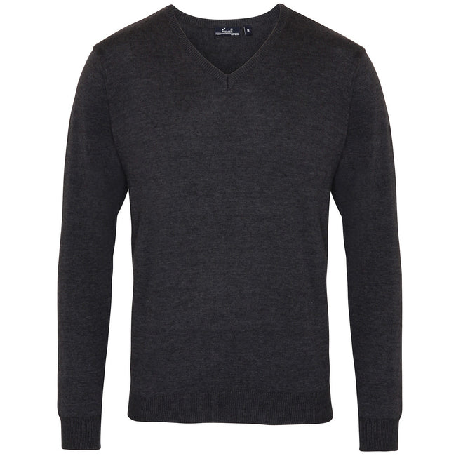 Charcoal - Front - Premier Mens V-Neck Knitted Sweater