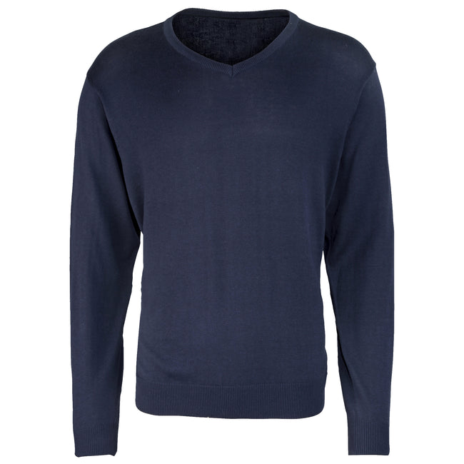 Navy - Front - Premier Mens V-Neck Knitted Sweater
