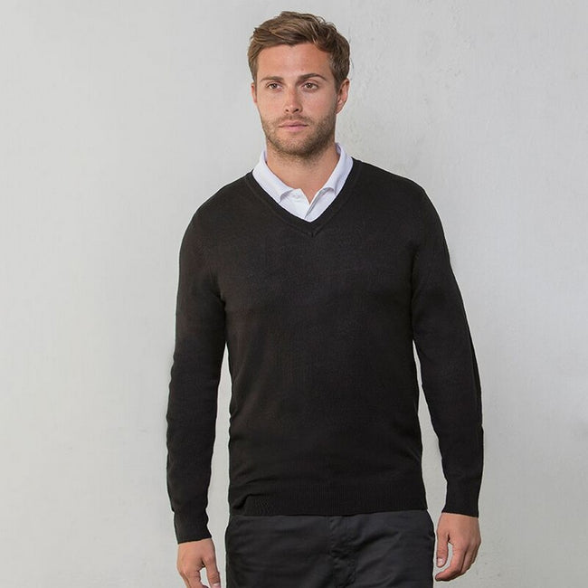 Black - Back - RTY Workwear Mens V-neck Arcylic Wool Sweater - Sweatshirt