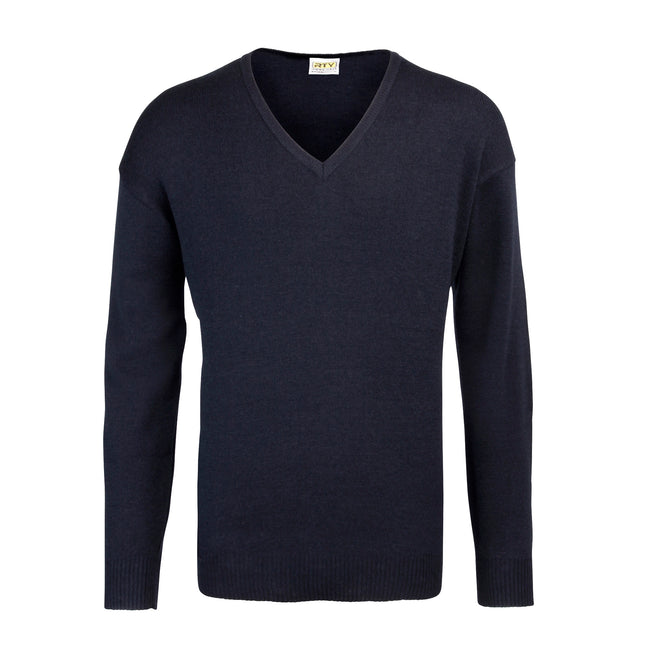 Navy - Front - RTY Workwear Mens V-neck Arcylic Wool Sweater - Sweatshirt