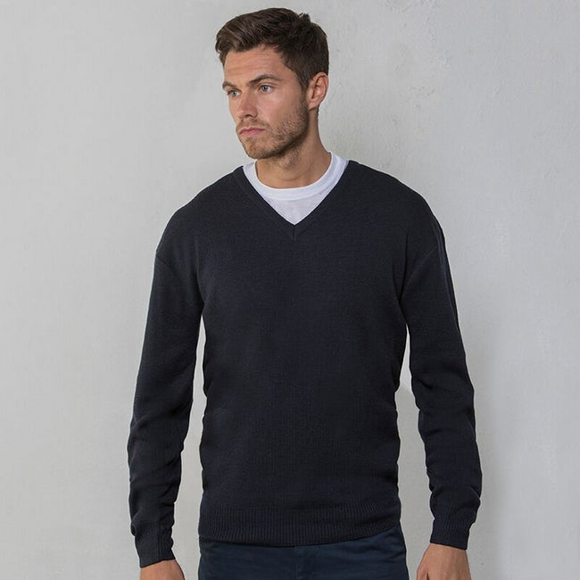 Navy - Back - RTY Workwear Mens V-neck Arcylic Wool Sweater - Sweatshirt