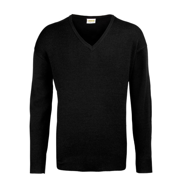 Black - Front - RTY Workwear Mens V-neck Arcylic Wool Sweater - Sweatshirt