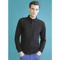 Black - Back - Skinni Fit Mens Long Sleeve Stretch Polo Shirt