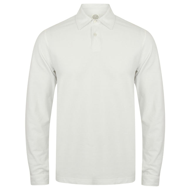 White - Front - Skinni Fit Mens Long Sleeve Stretch Polo Shirt