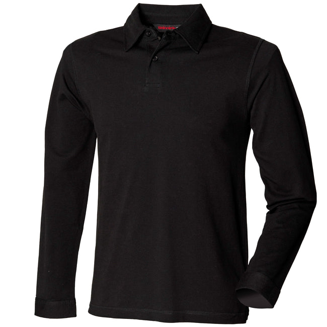 Black - Front - Skinni Fit Mens Long Sleeve Stretch Polo Shirt