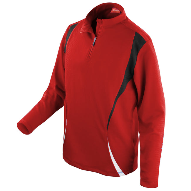 Red-Black-White - Front - Spiro Unisex Sports Trial Performance Training Top