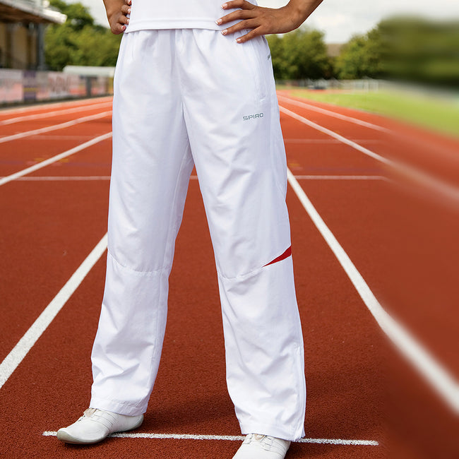 White-Navy - Back - Spiro Womens-Ladies Micro-Lite Performance Sports Pants - Tracksuit Bottoms