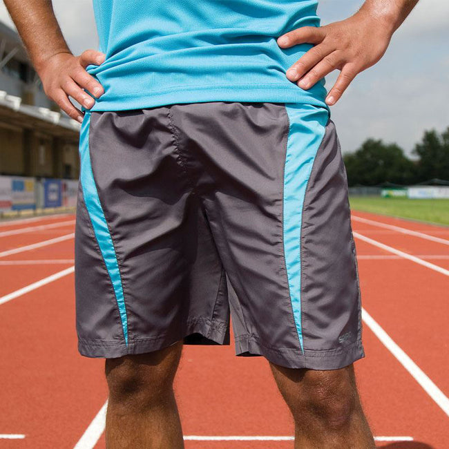Grey-Aqua - Back - Spiro Mens Micro-Team Sports Shorts