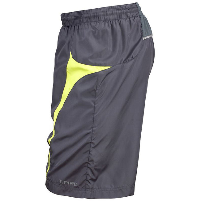 Grey-Lime - Back - Spiro Mens Micro-Team Sports Shorts