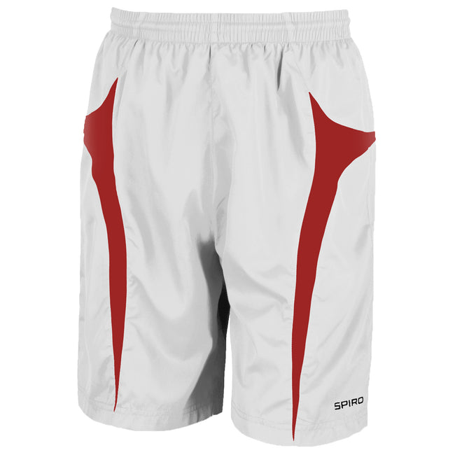 White-Red - Front - Spiro Mens Micro-Team Sports Shorts