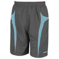 Grey-Aqua - Front - Spiro Mens Micro-Team Sports Shorts