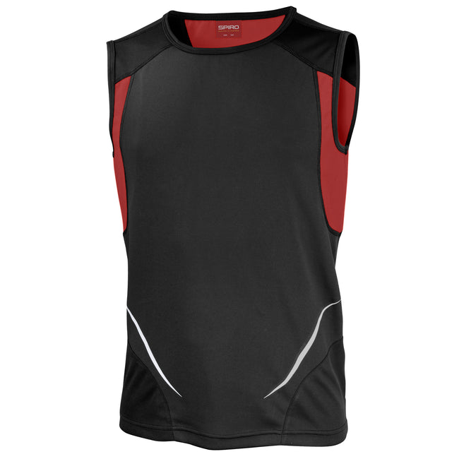 Black-Red - Front - Spiro Mens Sports Athletic Vest Top
