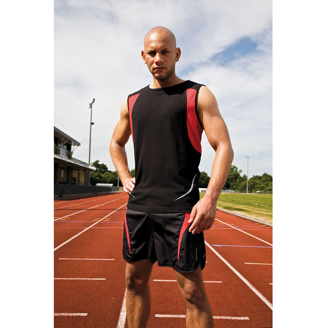 Black-Red - Back - Spiro Mens Sports Athletic Vest Top