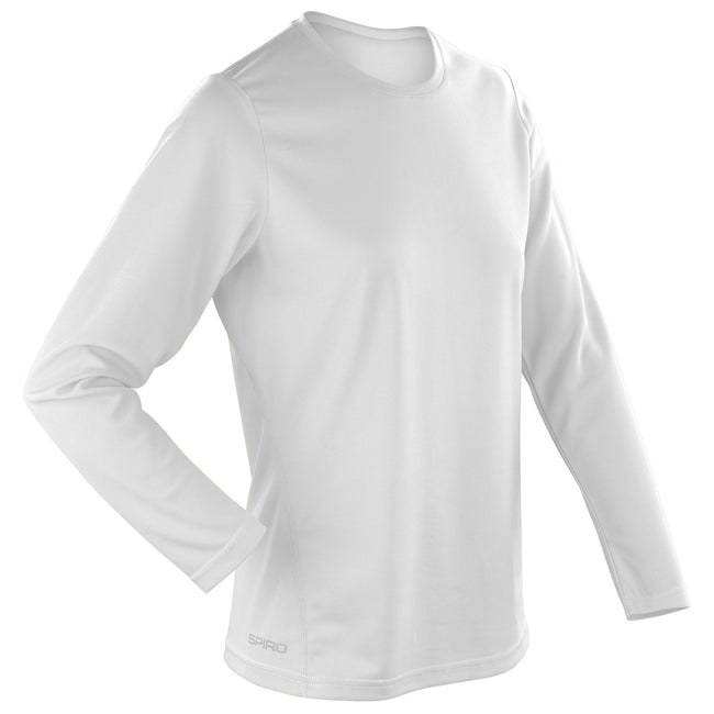 White - Back - Spiro Ladies-Womens Sports Quick-Dry Long Sleeve Performance T-Shirt
