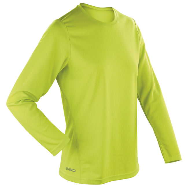 Lime Green - Front - Spiro Ladies-Womens Sports Quick-Dry Long Sleeve Performance T-Shirt
