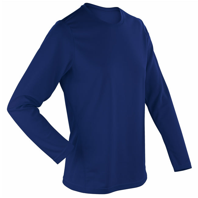 Navy - Front - Spiro Ladies-Womens Sports Quick-Dry Long Sleeve Performance T-Shirt