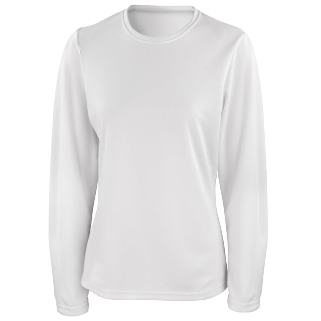 White - Front - Spiro Ladies-Womens Sports Quick-Dry Long Sleeve Performance T-Shirt