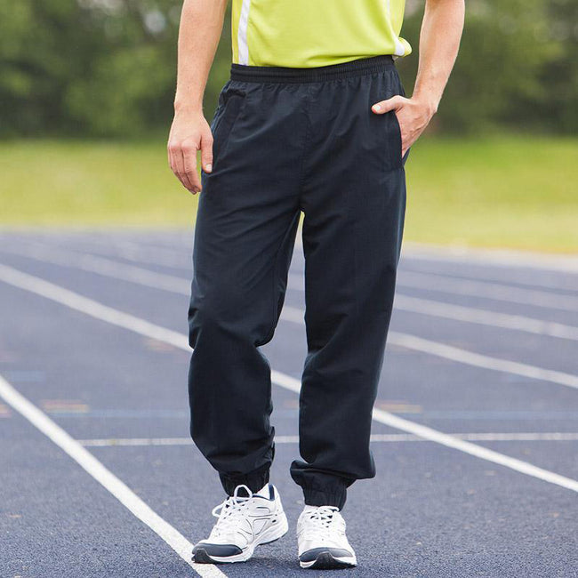 Navy - Side - Tombo Teamsport Mens Sports Lined Tracksuit Bottoms - Jog Pants