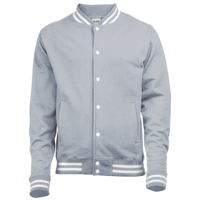 Heather Grey - Front - Awdis Adults Unisex College Varsity Jacket