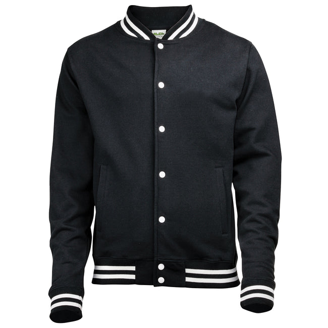 Jet Black - Front - Awdis Adults Unisex College Varsity Jacket
