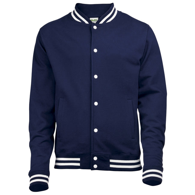Oxford Navy - Front - Awdis Adults Unisex College Varsity Jacket