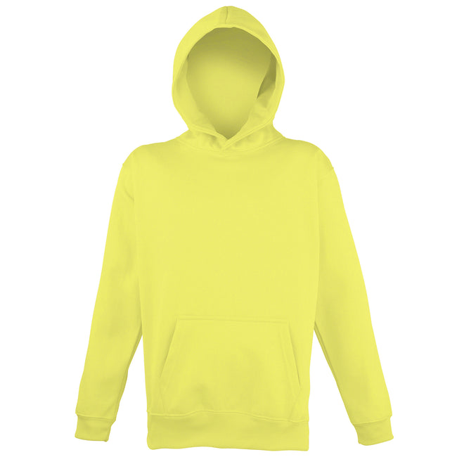 Electric Yellow - Front - Awdis Childrens Unisex Electric Hooded Sweatshirt - Hoodie - Schoolwear