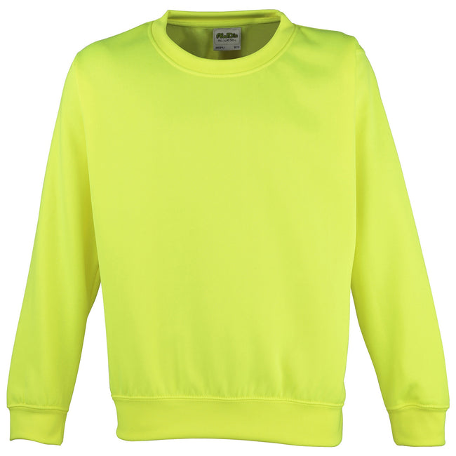 Electric Yellow - Front - Awdis Childrens Unisex Electric Sweatshirt - Schoolwear