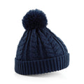French Navy - Front - Beechfield Unisex Heavyweight Cable Knit Snowstar Winter Beanie Hat